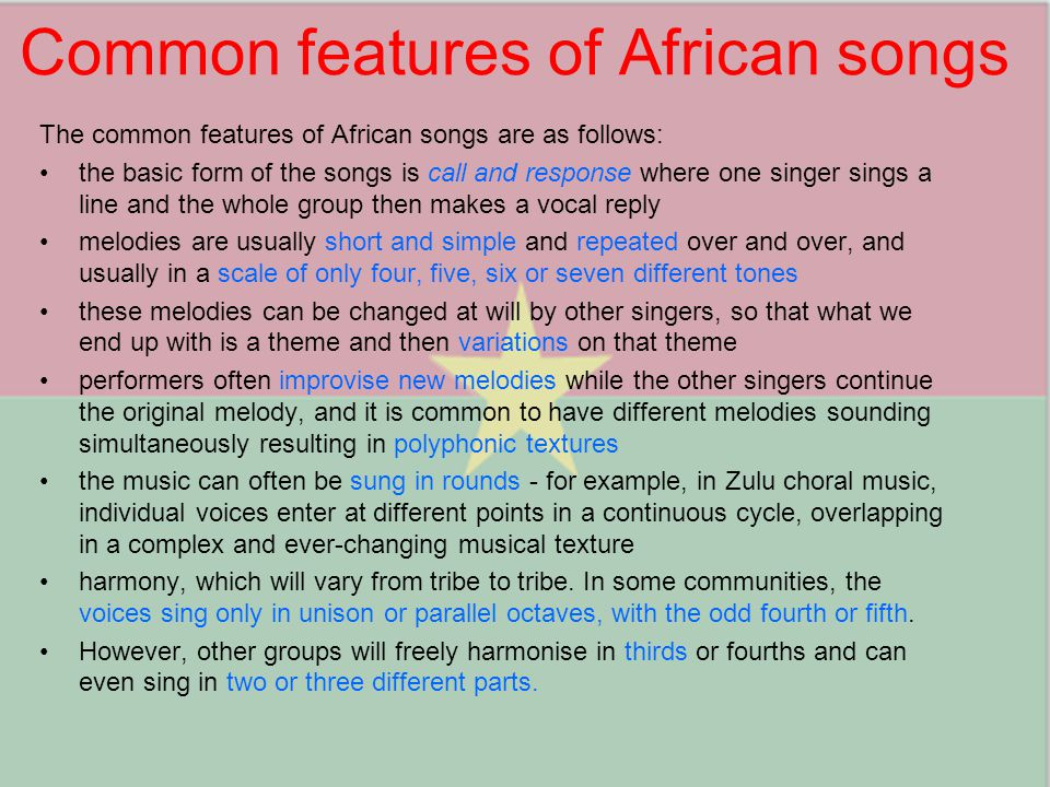 Common features of African songs
