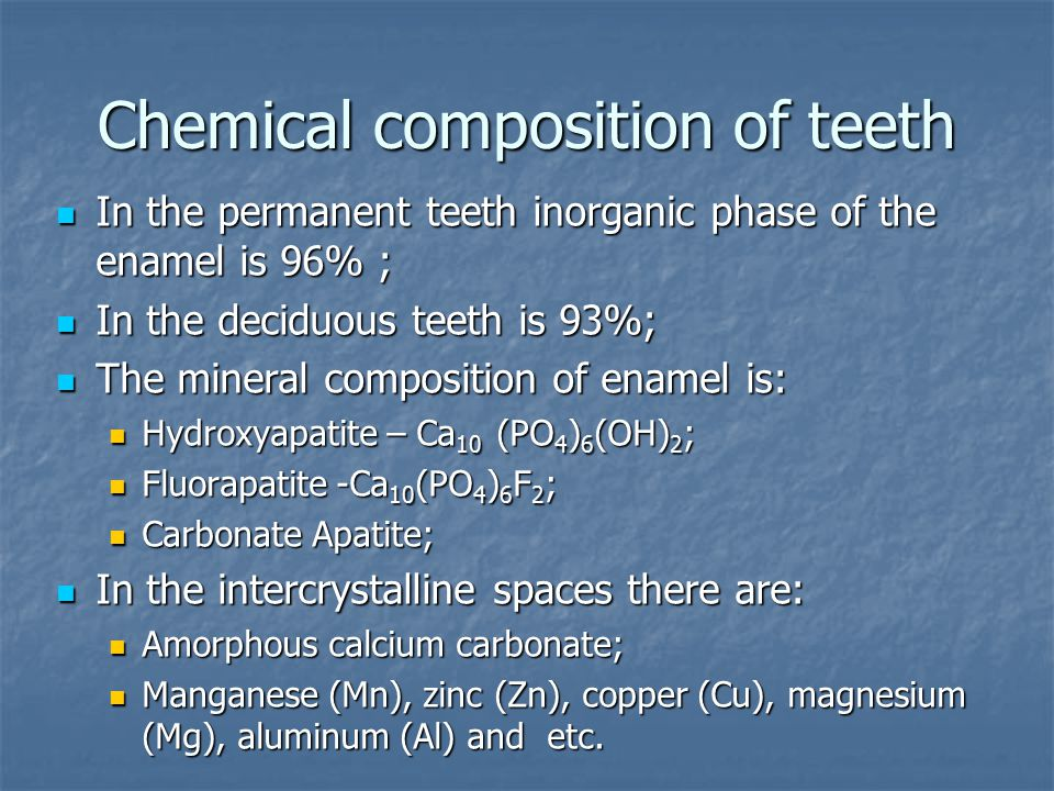 Chemical composition of teeth