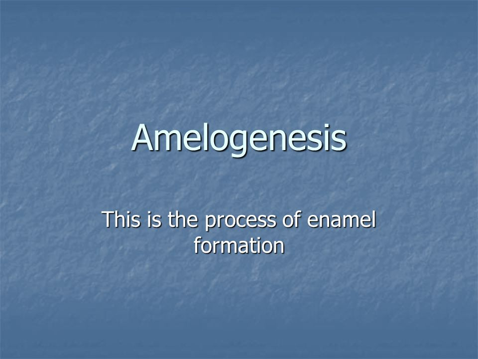 This is the process of enamel formation
