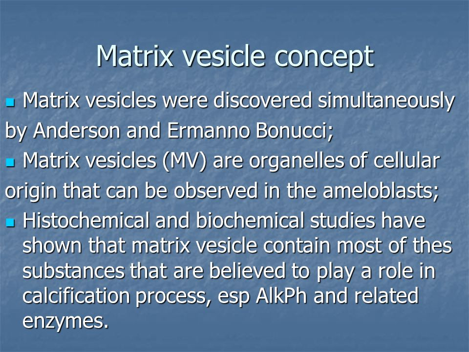 Matrix vesicle concept