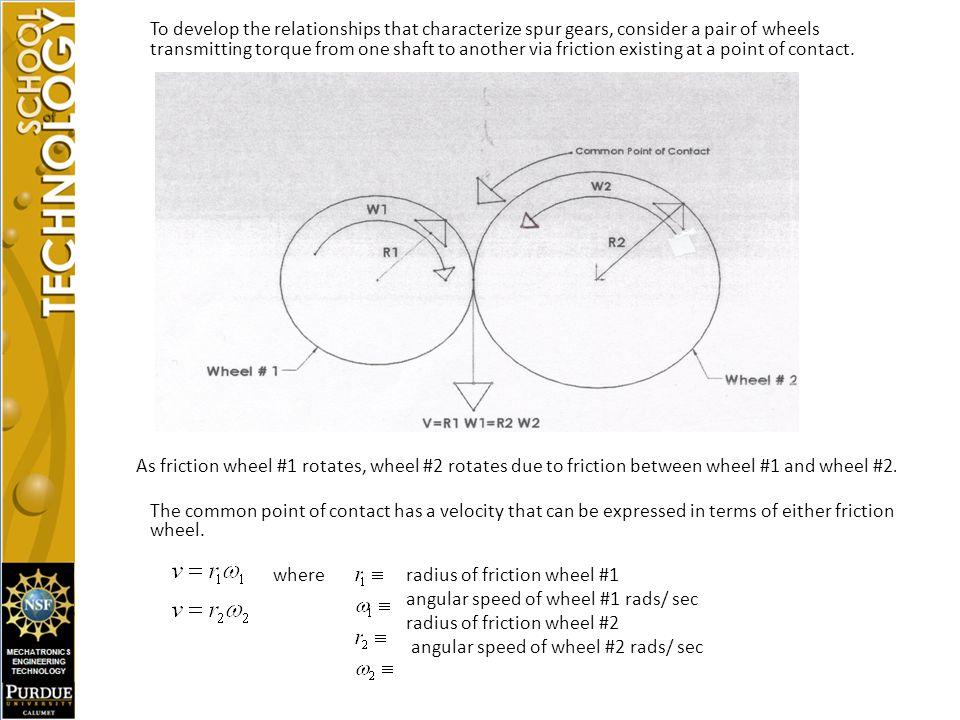 angular speed of wheel #1 rads/ sec radius of friction wheel #2
