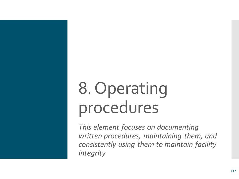 8. Operating procedures