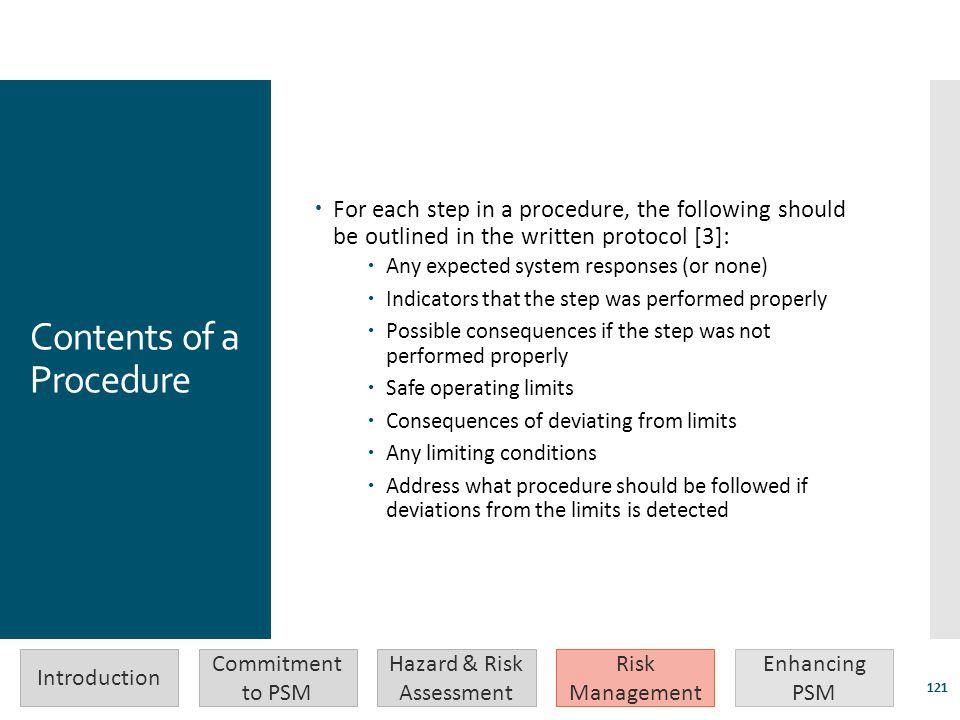 Contents of a Procedure
