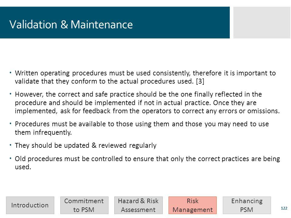 Validation & Maintenance
