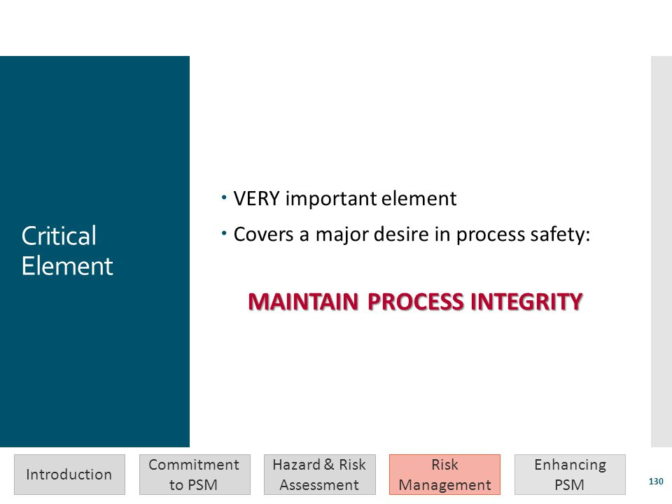 MAINTAIN PROCESS INTEGRITY