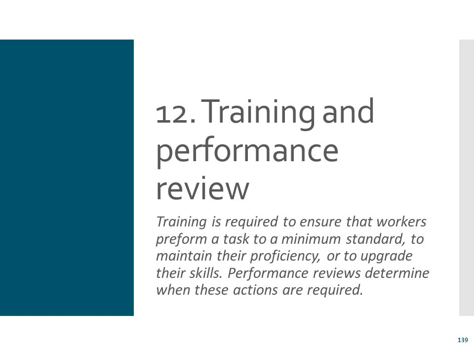 12. Training and performance review