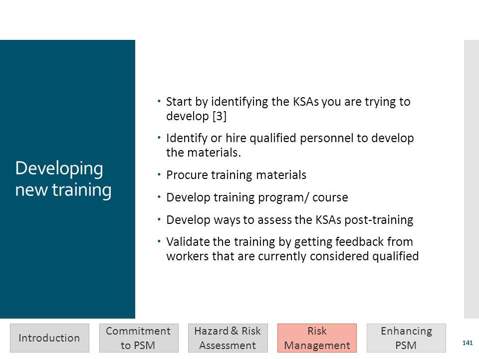 Developing new training