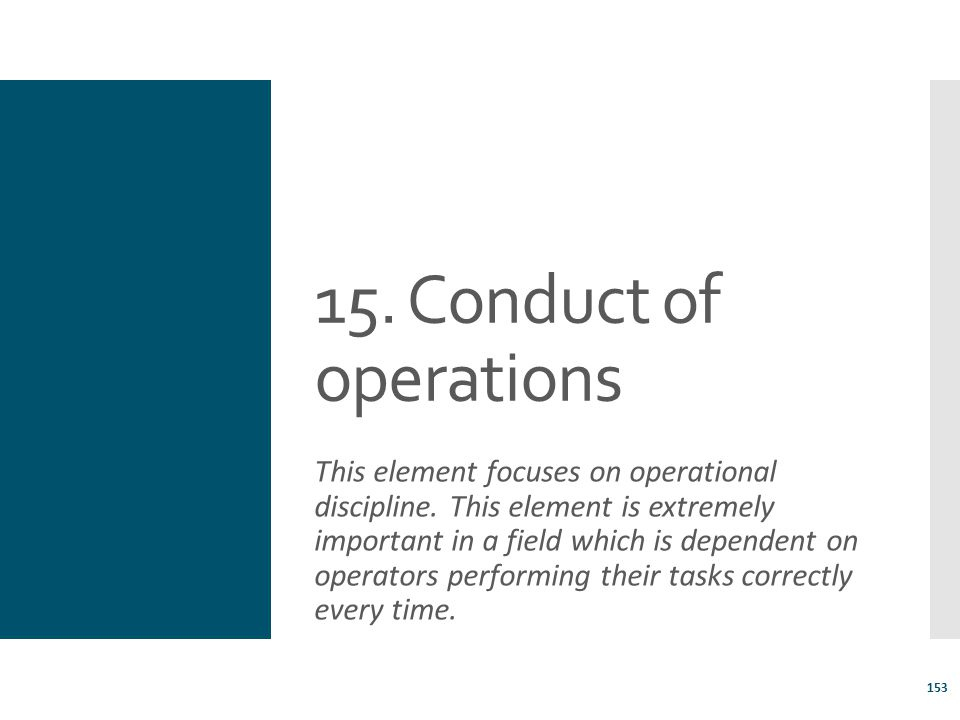15. Conduct of operations