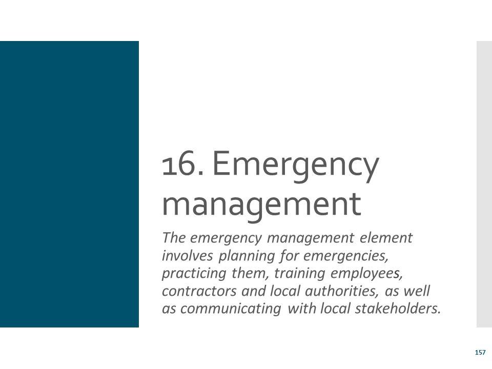 16. Emergency management