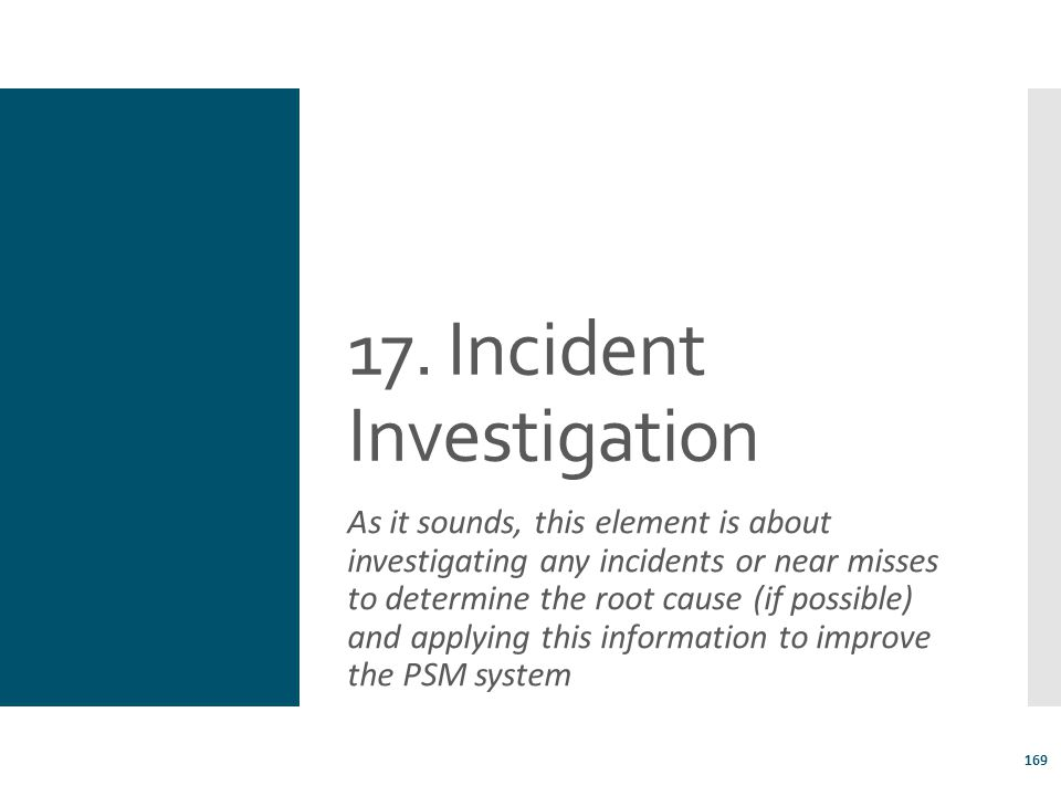 17. Incident Investigation