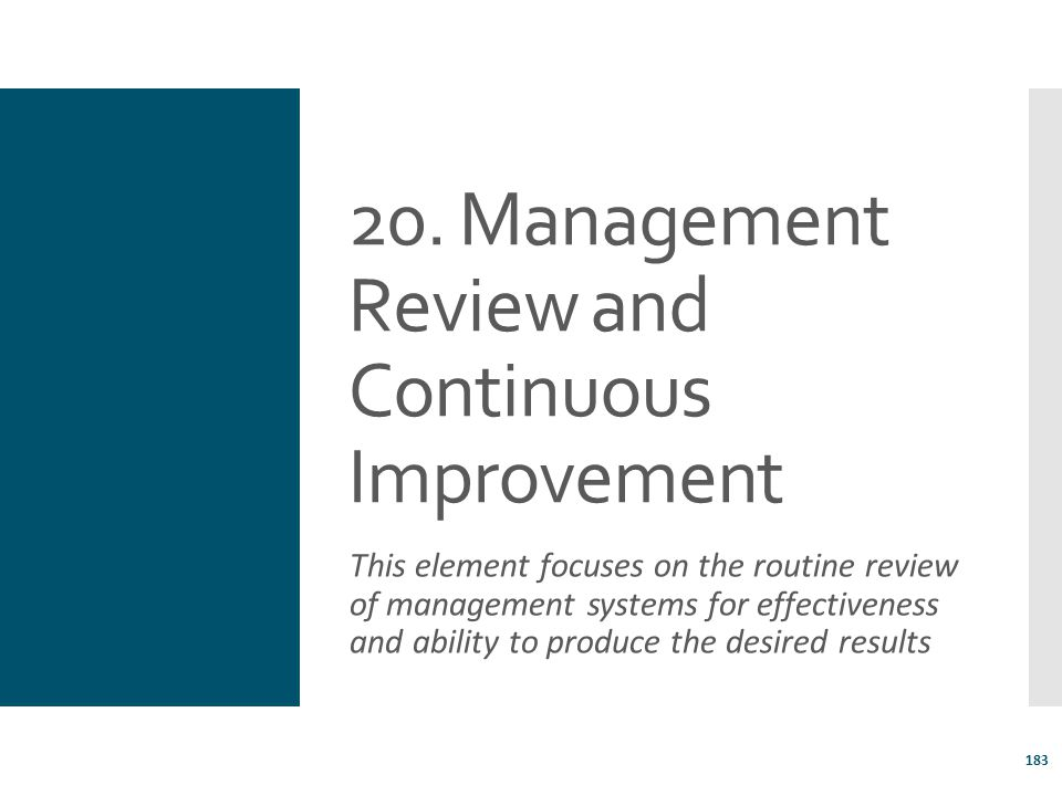20. Management Review and Continuous Improvement