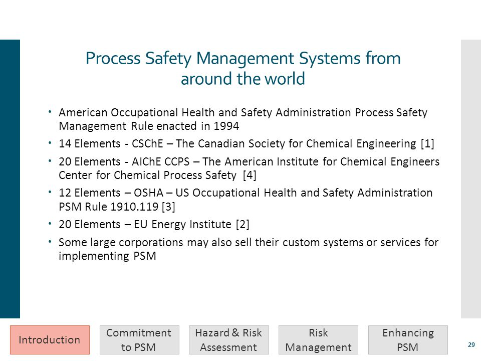 Process Safety Management Systems from around the world