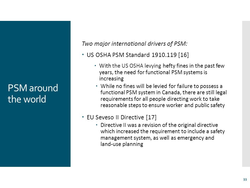 PSM around the world Two major international drivers of PSM: