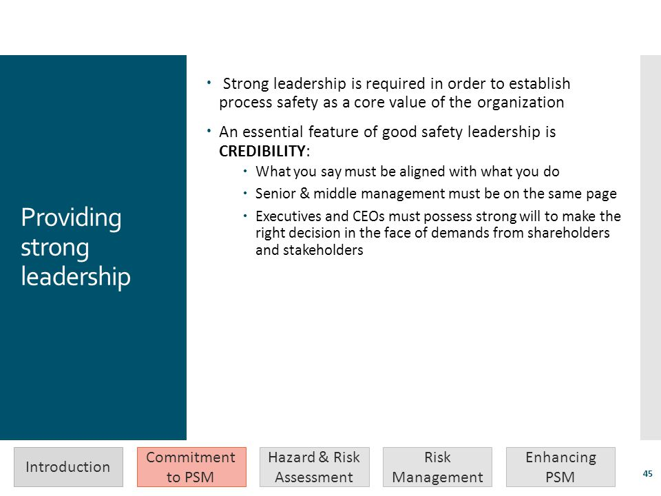 Providing strong leadership