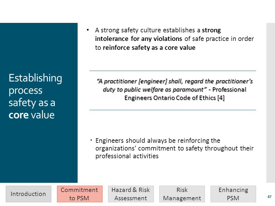 Establishing process safety as a core value
