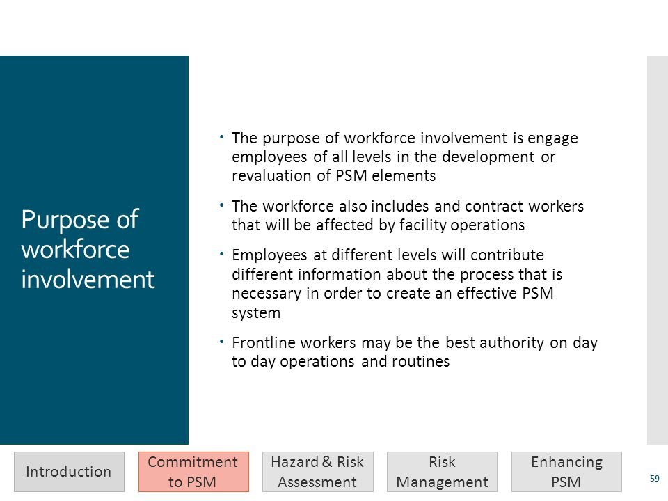 Purpose of workforce involvement