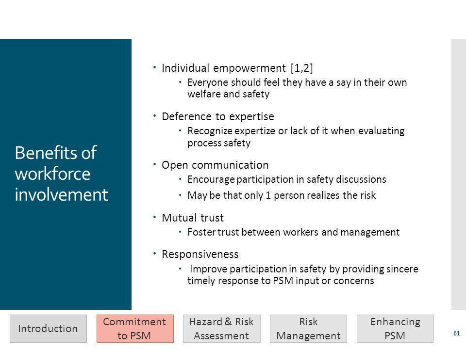 Benefits of workforce involvement