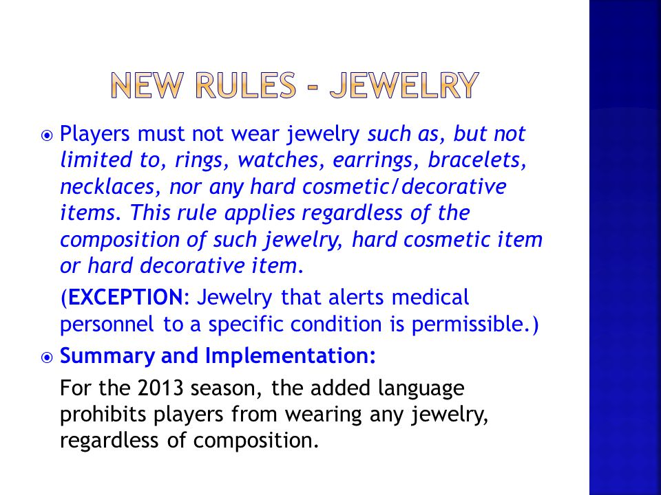 New rules - jewelry