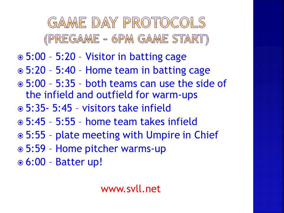 Game Day Protocols (Pregame – 6pm game start)
