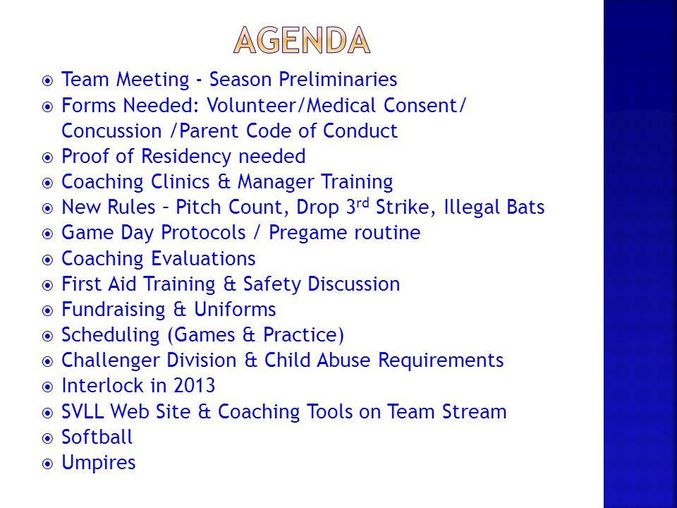 Agenda Team Meeting - Season Preliminaries