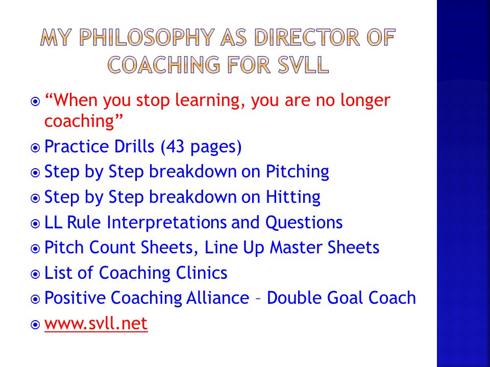 My philosophy as director of coaching for svll
