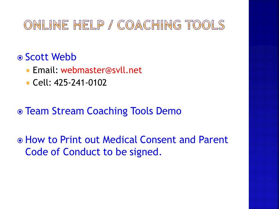 Online Help / Coaching tools