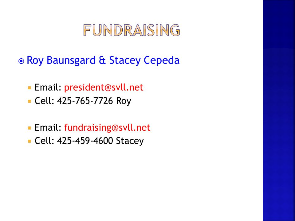 fundraising Roy Baunsgard & Stacey Cepeda