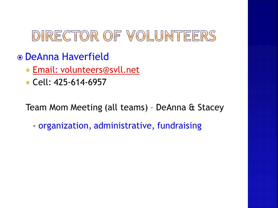 Director of volunteers