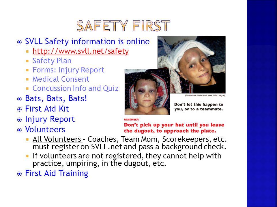 Safety First SVLL Safety information is online Bats, Bats, Bats!