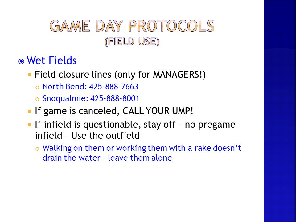 Game Day Protocols (Field Use)