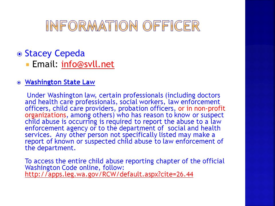 Information officer Stacey Cepeda