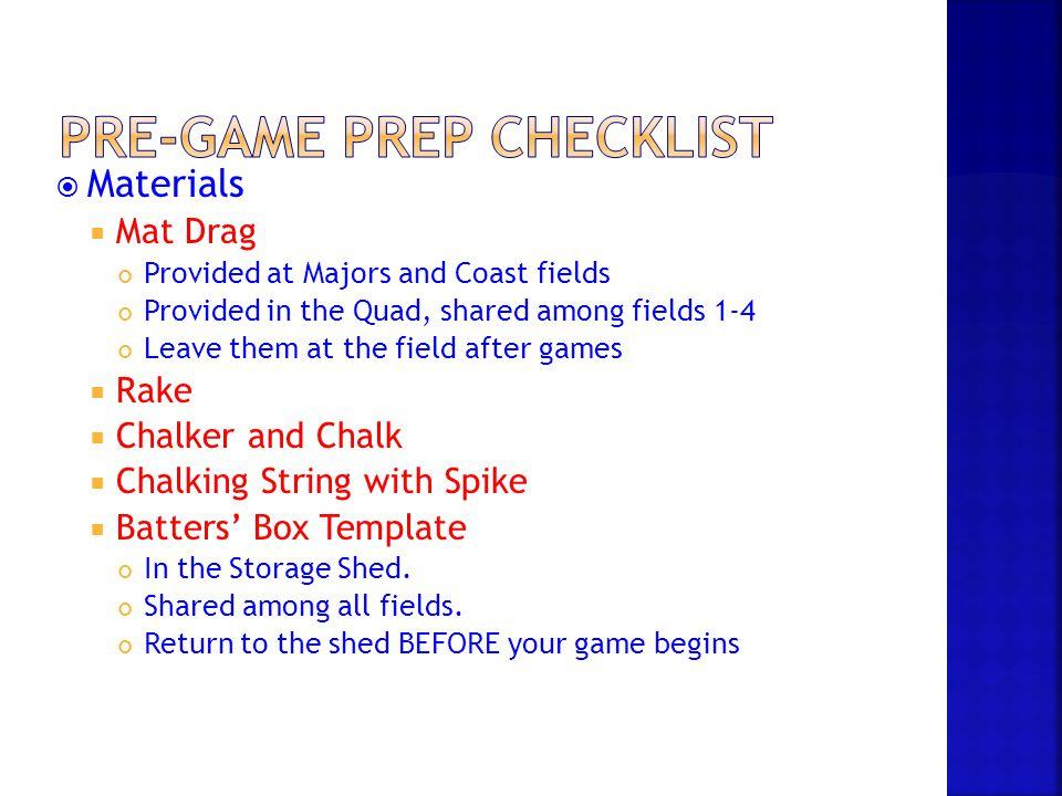 Pre-Game Prep Checklist
