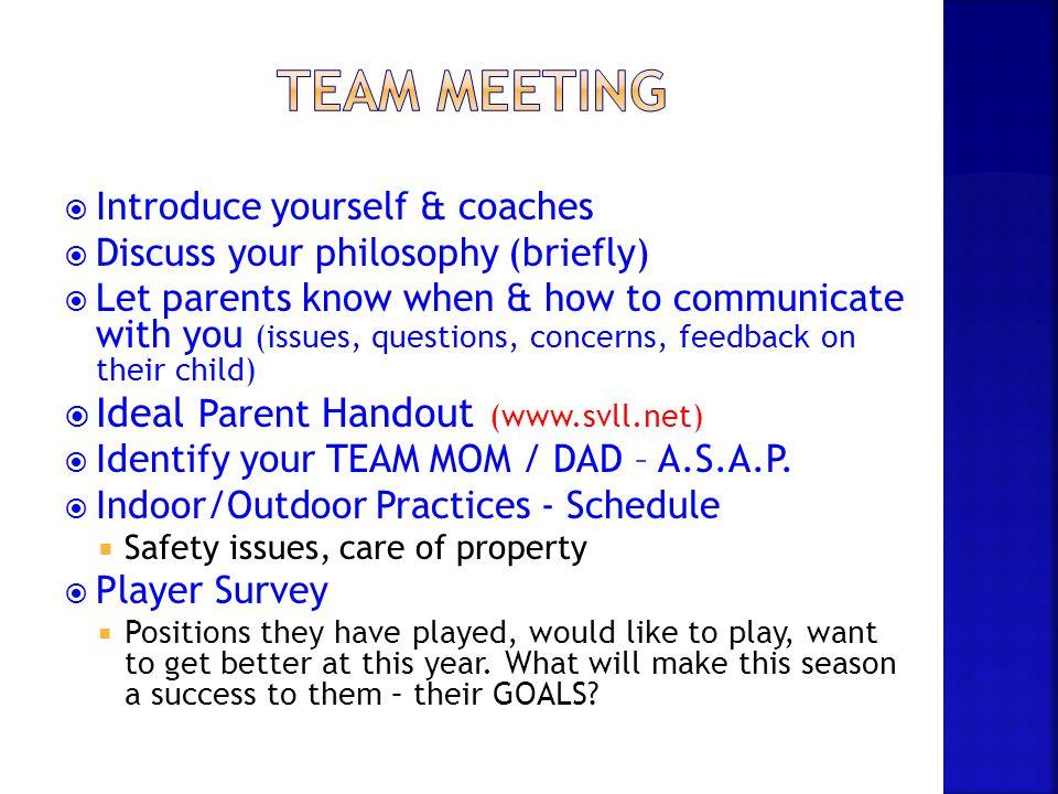 Team Meeting Ideal Parent Handout (www.svll.net)