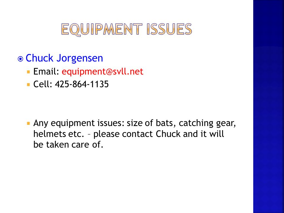 Equipment Issues Chuck Jorgensen