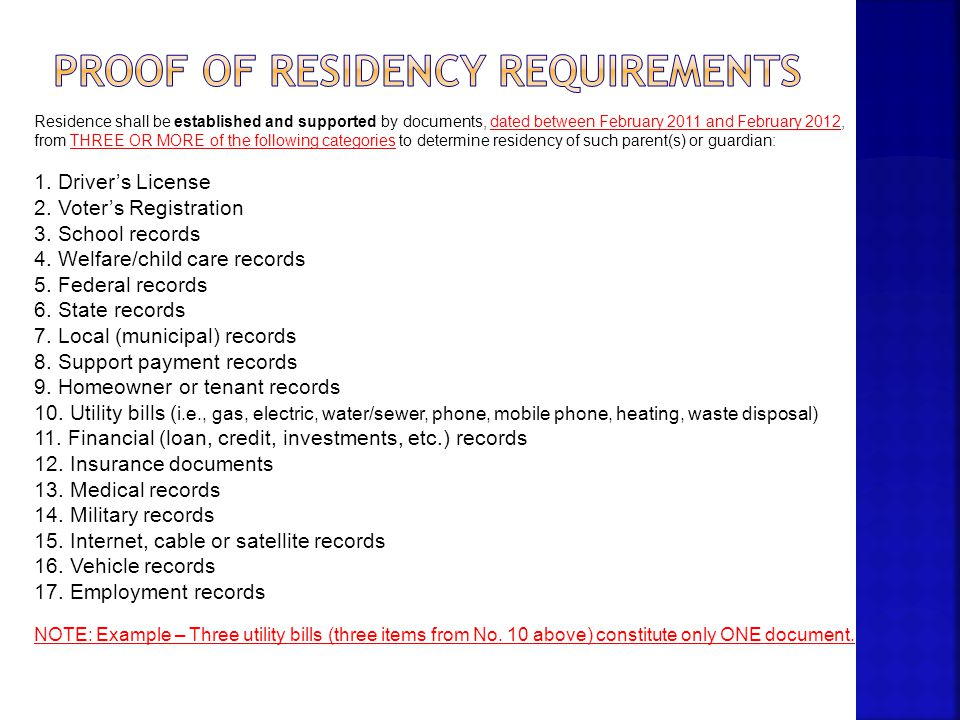 Proof of Residency Requirements