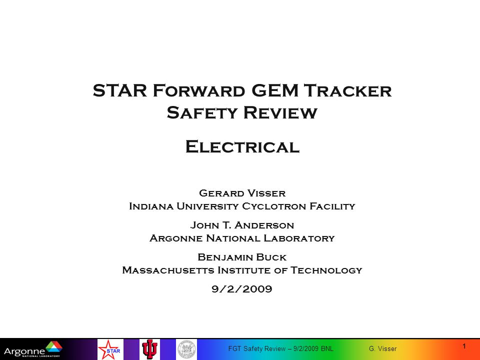 STAR Forward GEM Tracker Safety Review Electrical