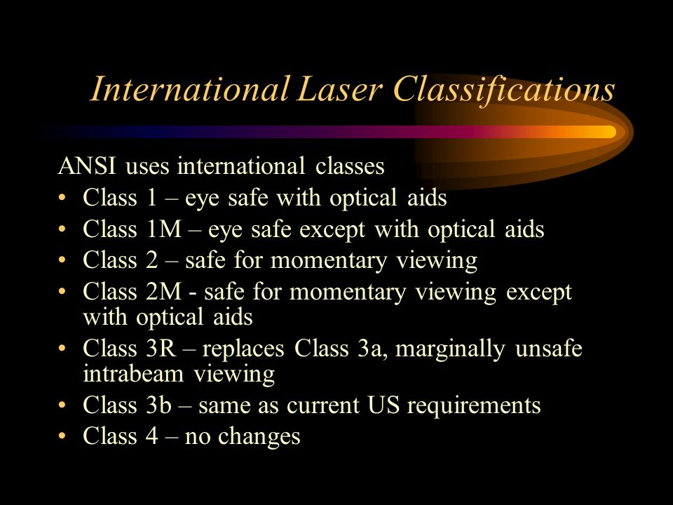 International Laser Classifications