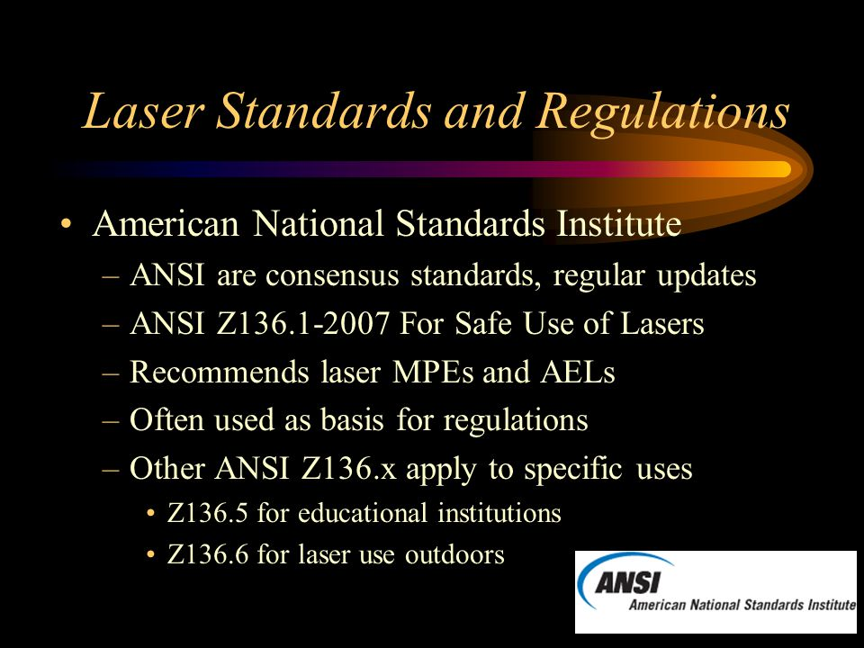 Laser Standards and Regulations