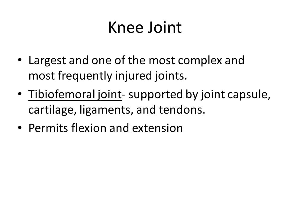 Knee Joint Largest and one of the most complex and most frequently injured joints.