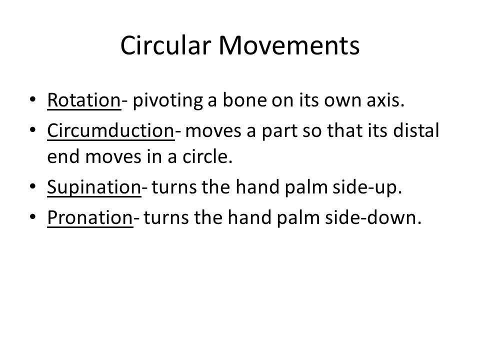 Circular Movements Rotation- pivoting a bone on its own axis.