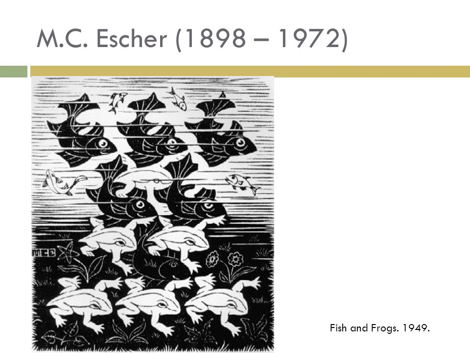 M.C. Escher (1898 – 1972) Fish and Frogs. 1949.