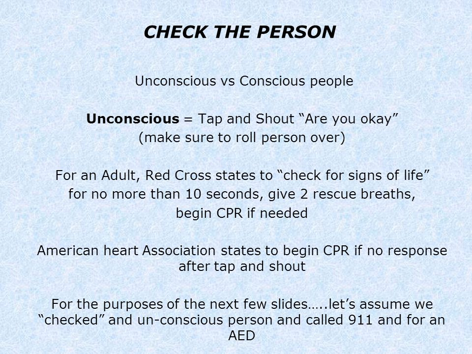 CHECK THE PERSON Unconscious vs Conscious people