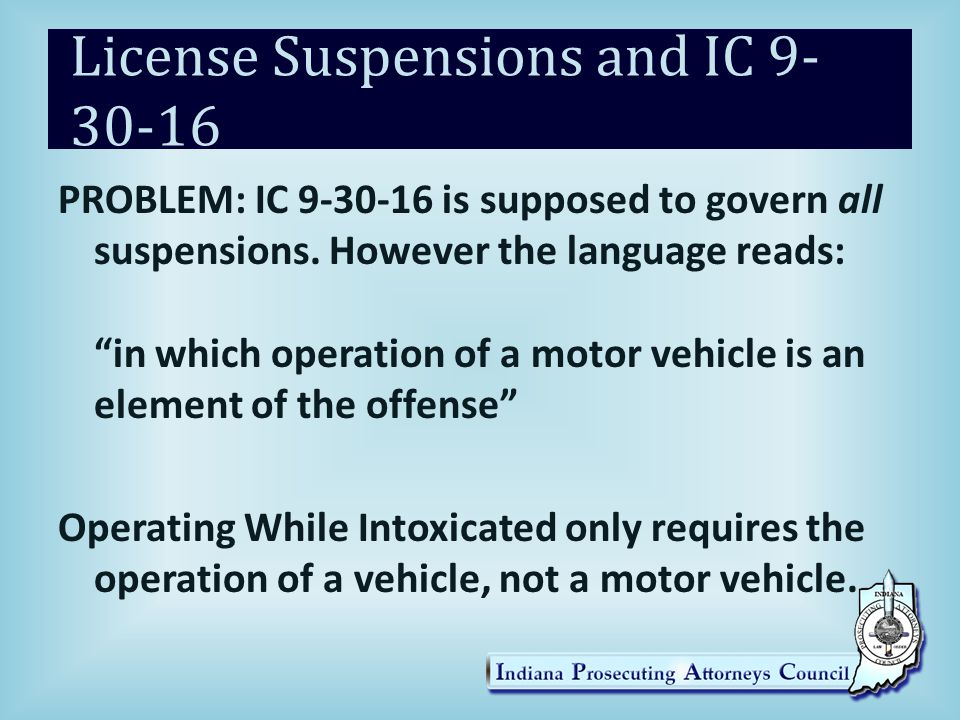License Suspensions and IC 9-30-16