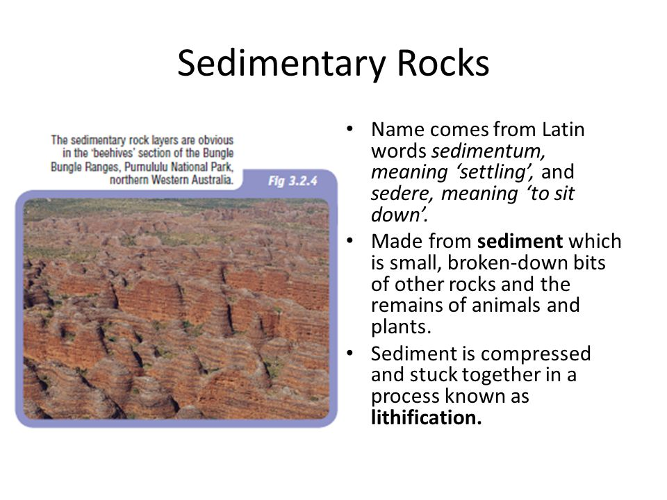 Sedimentary Rocks Name comes from Latin words sedimentum, meaning 'settling', and sedere, meaning 'to sit down'.