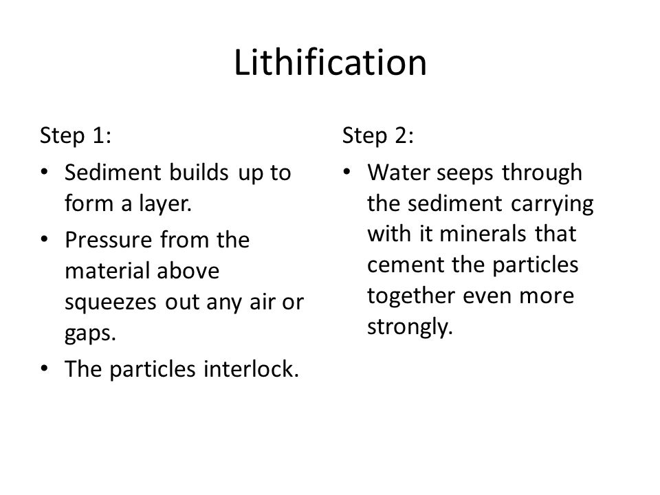 Lithification Step 1: Sediment builds up to form a layer.