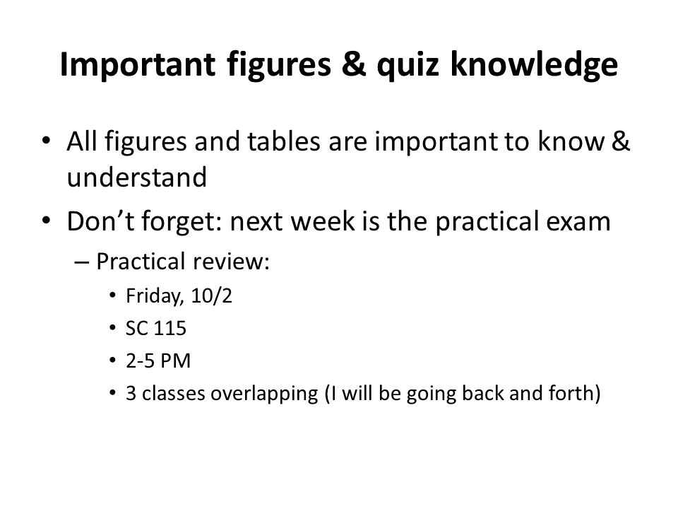 Important figures & quiz knowledge