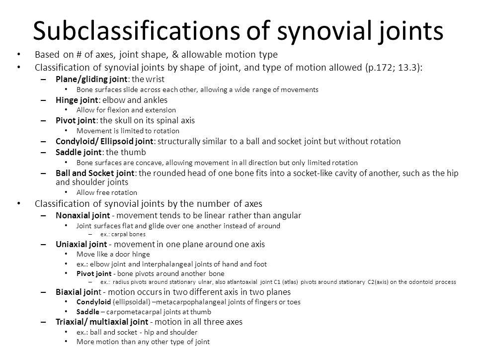 Subclassifications of synovial joints
