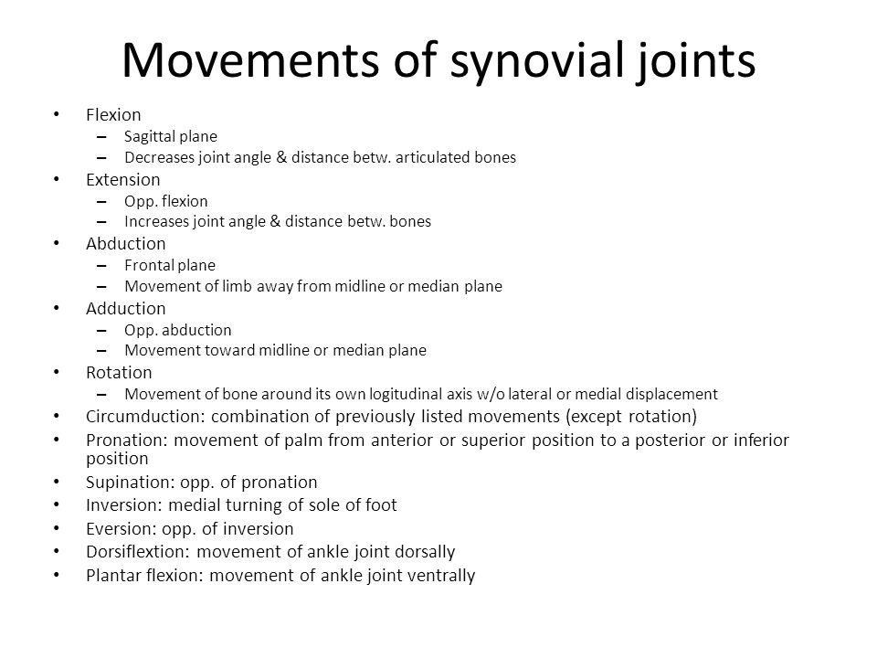 Movements of synovial joints