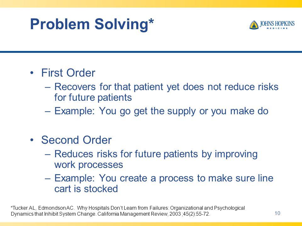 Problem Solving* First Order Second Order
