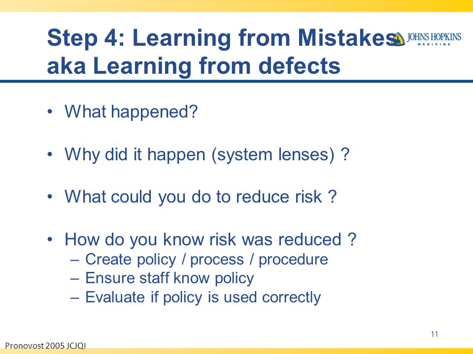 Step 4: Learning from Mistakes aka Learning from defects